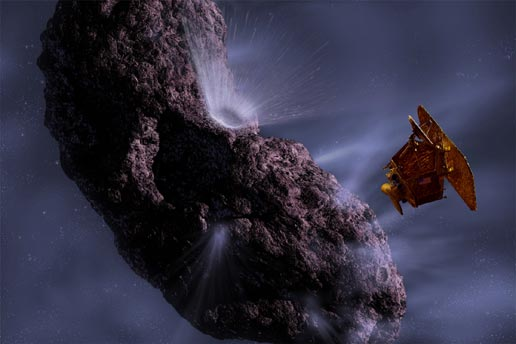 [Artist's concept of the Deep Impact Spacecraft at Comet Tempel 1. Image credit: Pat Rawlings/NASA/JPL/UMD. From http://www.nasa.gov/mission_pages/deepimpact/media/artist_concept-impactor.html]