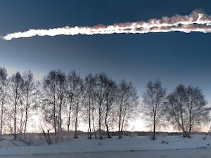 [The meteor streaking through the sky above Chelyabinsk, Russia on February 15, 2013. Image Credit: M. Ahmetvaleev. From: http://www.nasa.gov/mission_pages/asteroids/multimedia/pia16828.html]